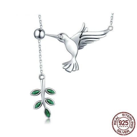 925 Sterling Silver Spring Bird & Leaves Dangle Pendant Necklace