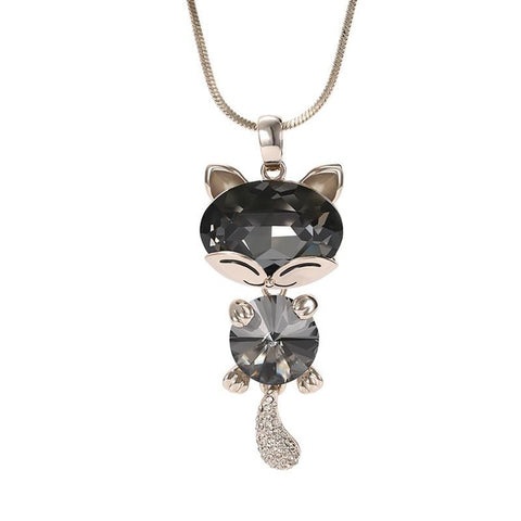 Lovable Cat Crystal Pendant