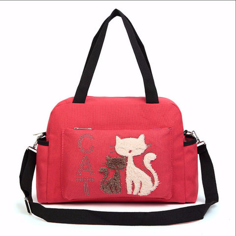 Ladies Shoulder Canvas Bag With Cute Cat