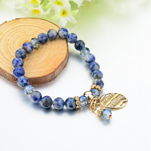 New Trendy Natural Color Beautiful Blue Stone Beads Crystal Charm Bracelet