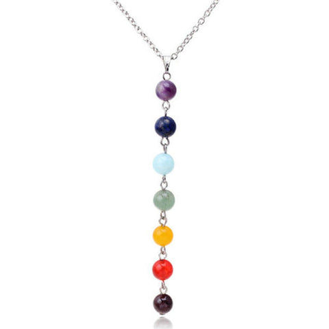 New 7 Chakra Gem Stone Beads Yoga Pendant Necklace