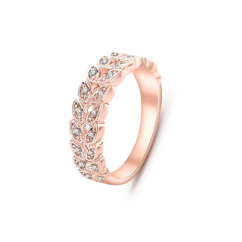 New Arrival Elegant Rose Gold Plated Leaf Design Crystal Ring