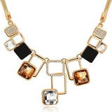 New Fashion Beautiful Classic Geometric Design Crystal Statement Necklace
