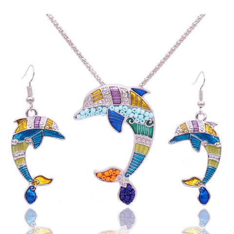 Unique Enamel Dolphin Jewelry Set