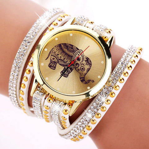 New Fashion Elephant Bracelet Watch Wrap Watch Wrist Watch Beautiful Colors