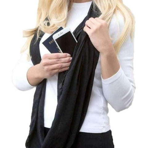 Winter Infinity Scarf With Zipper Pocket