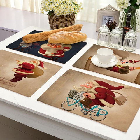 New Santa Claus Printed Linen Tablemats, Placemats Holiday/ Christmas Decorations Kitchen and Dining Accessories