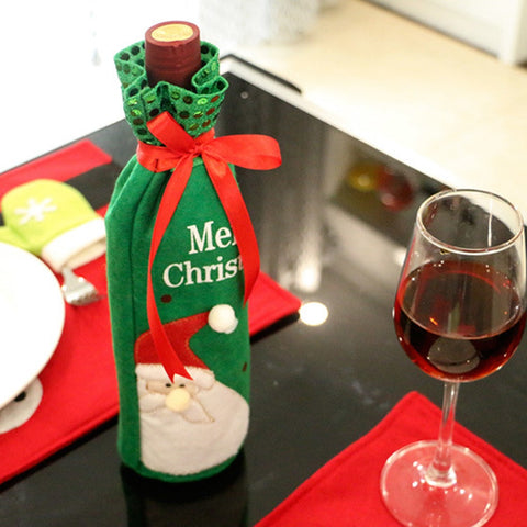 New Santa Claus Wine Bottle Cover Bag Kitchen And Dining Accessories