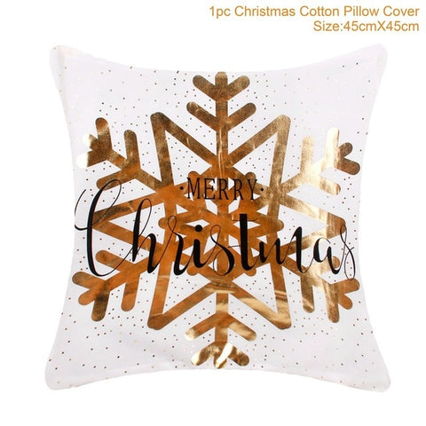 New Fancy Gold Printed Cushion Cover/ Case Throw Pillow Case For Sofa/ Bed Home Decor, Santa Claus Holiday/ Chritmas Decorations