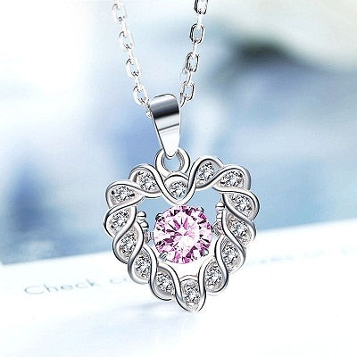 Sweetheart Dancing Stone Pendant Necklace