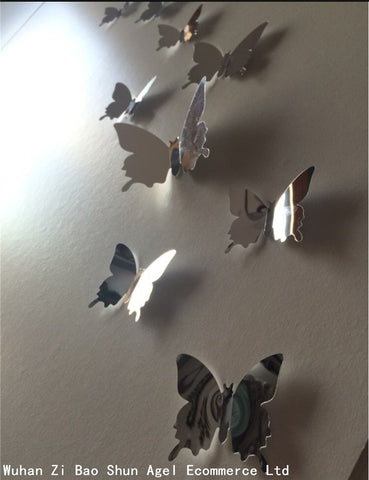 New Arrival Mirror 3D Butterfly 12 pieces Set Wall Sticker Home And Party Decor