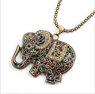New Fashion Vintage Style Long Red Crystal Elephant Pendant Necklace