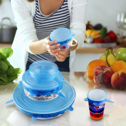 New Useful Set Of 6 Silicone Suction Lid- Bowl Cover Kitchen Tool