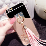 Shining Mirror iphone Back Cover with Pendant Tassel Phone Cases For iphone 5 5S 5E 6 6s 6 plus
