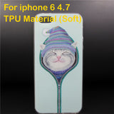 Lovely Cat In Beanie Back Case Cover For iPhone 5 6 6Plus