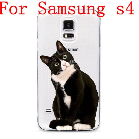 Ultra Thin Transparent Soft TPU Black Cat Cell Phone Back Cover Case For Samsung Galaxy