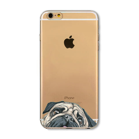Newest Super Cute Funny Pug Dogs Transparent Phone Cases For iPhone Case Ultra Thin Back Cover For Dog Lovers