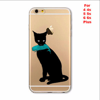 Black Cat Soft TPU Silicon Transparent Apple iPhone Thin Cover Case