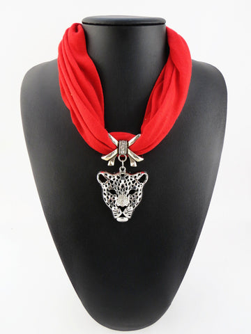 New Design Fashion Rhinestone Leopard Head Pendant Necklace Polyester Scarf For Women