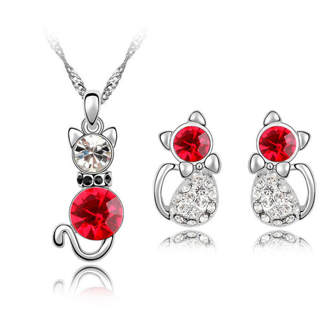 Crystal cute cat pendant necklace earrings jewelry sets