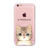 Cute Funny Cat Pattern Case For Apple iPhone Transparent Soft Silicone Cases