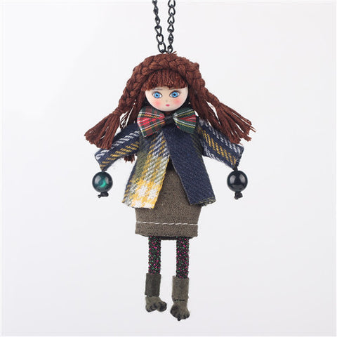 Cute Handmade Doll Girls Statement Cloth Long Chain Pendant Necklace Women Accessories