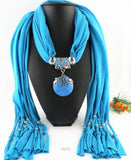 New Elegant Big Resin Round Pendant Long Tassel Scarf for Women