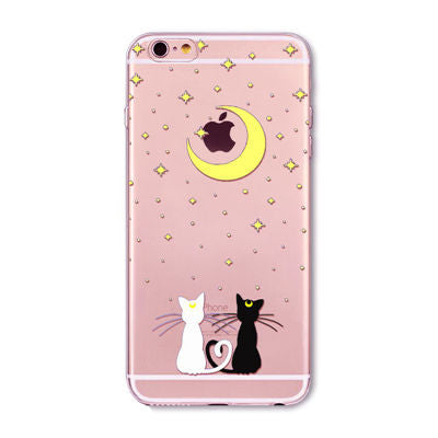Cute Cat Lovers Pattern Case Cover For Apple iPhone Transparent Soft Silicone