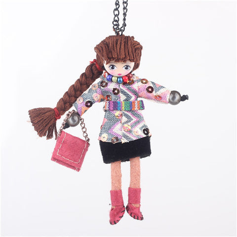 Handmade Doll Girls Statement Necklaces Cloth Long Chain Pendants Girls Women Accessories