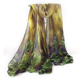 New Soft Design Women Long Scarf Leaves Pattern Print Voile Thin Scarves Stoles