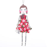Multicolor Flower Figure Doll Pendant Necklace Jewelry Accessories