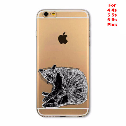 Apple iPhone Black Cat Case Soft TPU Silicon Transparent Thin Cover