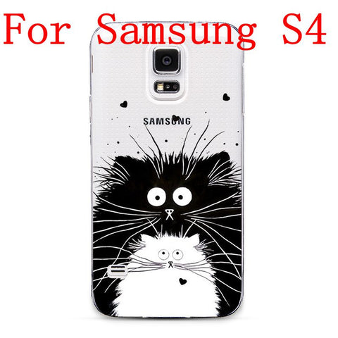 Ultra Thin Transparent Soft TPU Black White Cat Cell Phone Back Cover Case For Samsung Galaxy