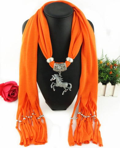 Fashion Alloy Horse Pendant Necklace Scarves Charm Jewelry Scarf