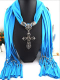 New Alloy Hollow Out Cross Pendant Long Polyester Tassel Ladies Scarves