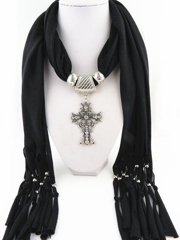 Trendy Long Rhinestone Cross Pendant Solid Polyester Tassel Scarves for Women