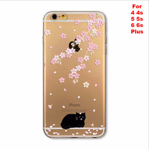 Black Cat Apple iPhone Soft TPU Silicon Transparent Thin Cover Case
