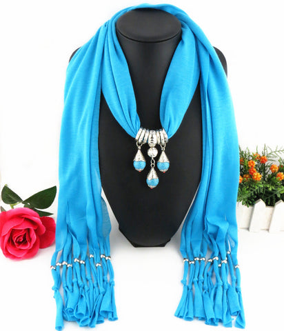 Hot Fashion Solid Round Beads Pendant Multilayer Tassel Long Polyester Scarves for Women
