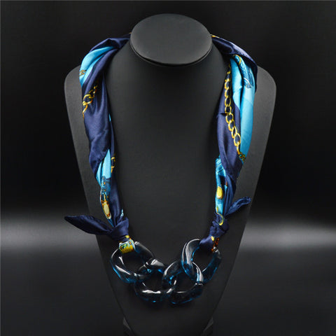 Beautiful Floral Printed Pendant Scarf Necklace Silk Accessories Fashion