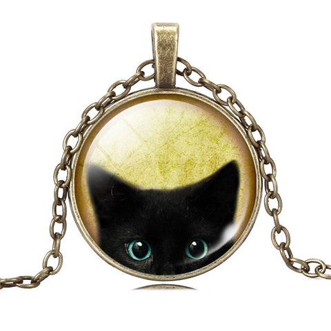 Unique Black Cat Glass Cabochon Chain Pendant Necklace For Women