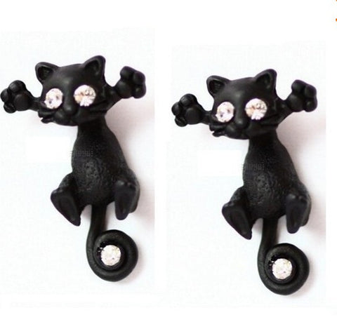 Cool Cat Kitten Ear Stud Earring Red or White Crystal Eyes