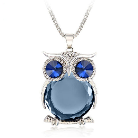 New Long Necklace Chain With Crystal Owl Necklace Pendant Necklaces For Women Gift