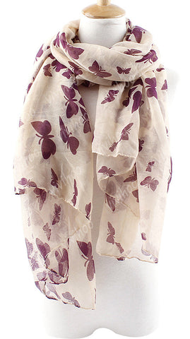 New Fashion Style Women Butterfly Print Neck Shawl Long Scarf Wrap Stole