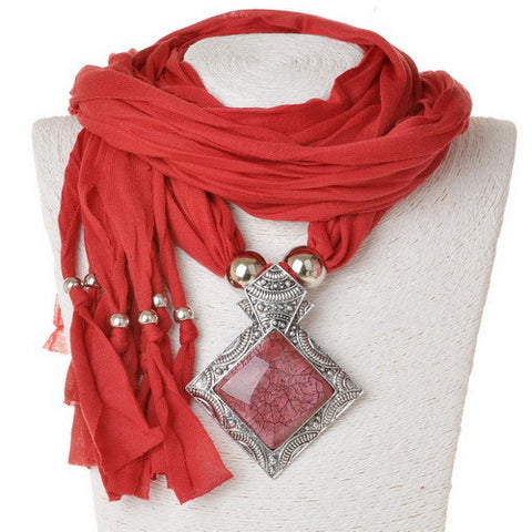 New Fashionable Classic Big Geometric Pendant Solid Polyester Scarf for Women