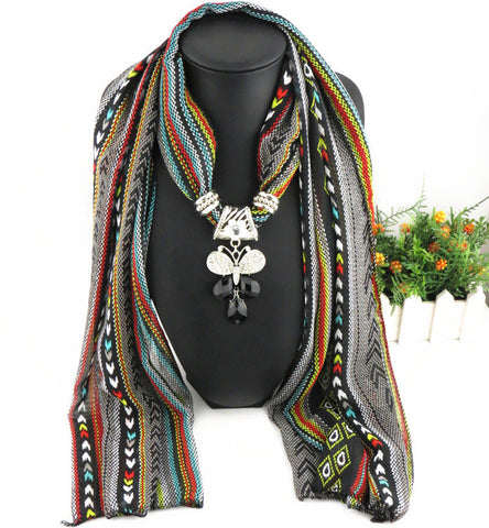 New Fashion Butterfly Pendant Long Printed Scarf for Women