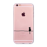Cute Black Cat Phone Case Cover For Apple iPhone Transparent Soft Silicone