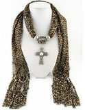 New Design Solid Leopard Cross Pendant Long Tassel Scarves Necklace for Women