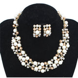 Elegant Imitation Pearl Necklace & Earrings Jewelry Set