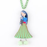 New Colorful Pendant Necklace Cute Girl Figure for Woman