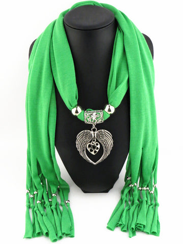 Elegant Angel Wings Heart Pendant Long Polyester Scarves for Women